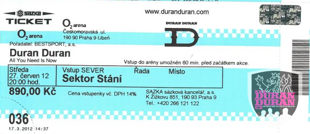 Ticket Prague 2012